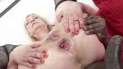 Blonde Cougar In Tight Skirt Gets Anal Cream Pie From Black Man
